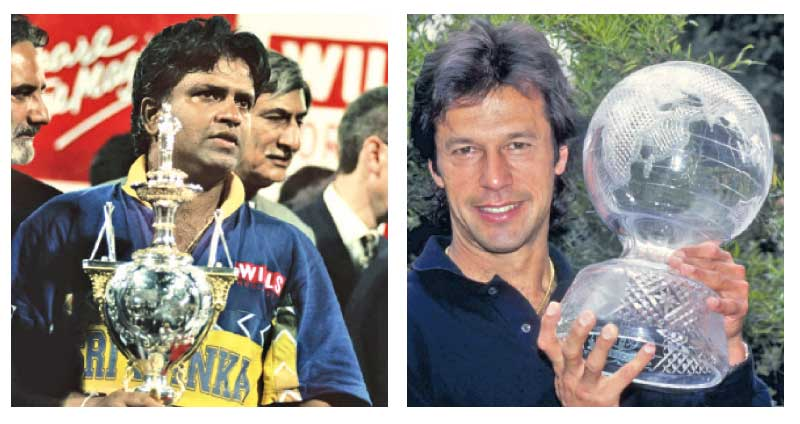 Arjuna Ranatunga with the 1996 World Cup-Imran Khan with the 1992 World Cup