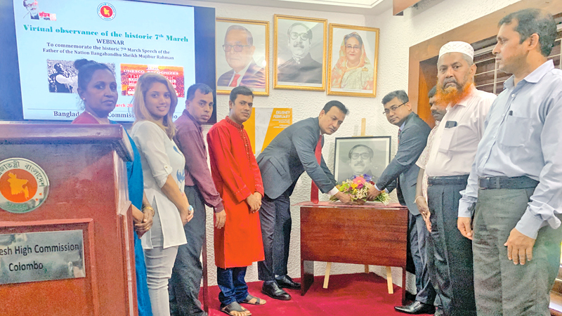 Bangladesh High Commissioner to Sri Lanka Tareq Mohammed Ariful Islam participating in a Webinar to commemorate the historic 7th March Speech of the Father of the Nation Bangabandhu Sheikh Mujibur Rahman.