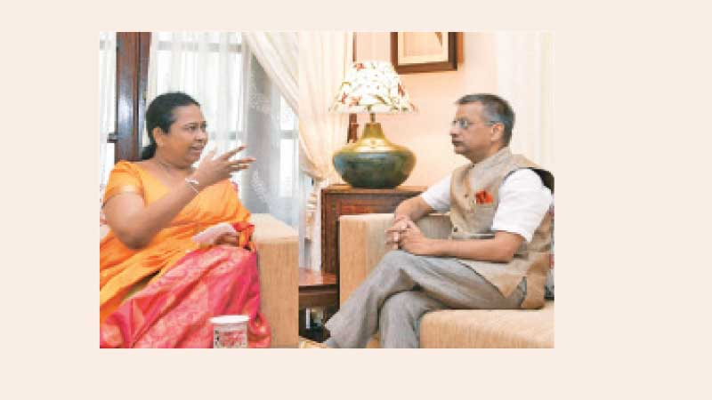 Health Minister Pavithra Wanniarachchi in discussion with Indian High Commissioner to Sri Lanka Gopal Baglay.
