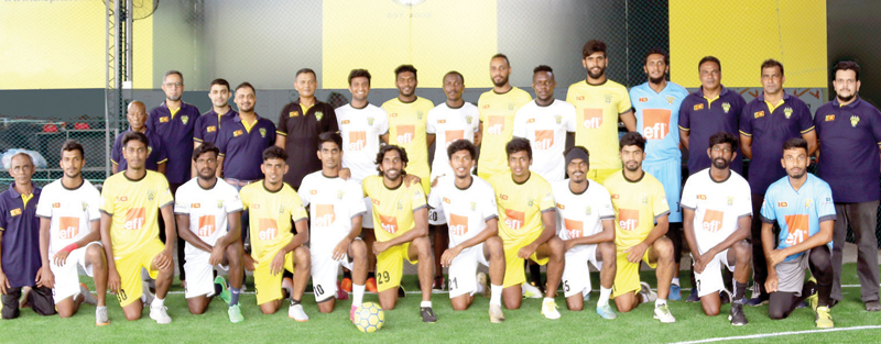 Colombo FC players and officials are seen here at the new location