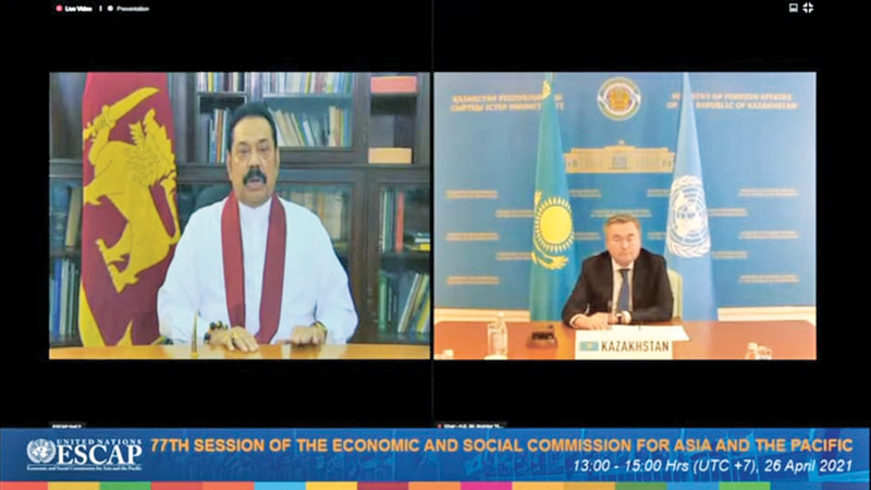 Prime Minister Mahinda Rajapaksa addressing the UNESCAP member countries on Zoom.