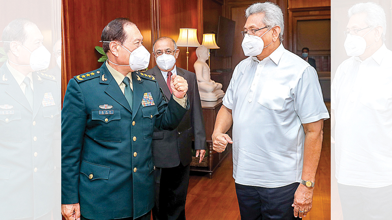 President Gotabaya Rajapaksa with Chinese Defence Minister Wei Fenghe