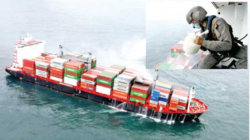 Sri Lanka Naval Vessels, a Fast Attack Craft with a SLAF Bell 212 helicopter helped douse the fire on-board the container ship.