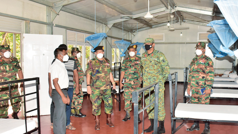 Commander Security Force Kilinochchi Major General Harendra Ranasinghe went on an inspection tour of the Intermediate Care Centre. General Officer Commanding 57 Infantry Division Major General Priyantha Jayawardena, Brigadier Administration and Quartering Brigadier Deepal Hathurusinghe and Commander 571 Infantry Brigade Brigadier Dammika Welagedara were also present.