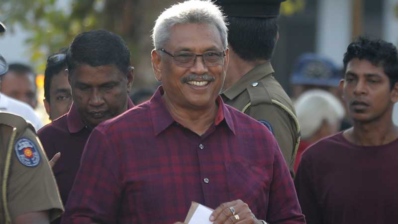 President Gotabaya Rajapaksa heading to the polling station to cast his vote at the Presidential Poll in November 2019.