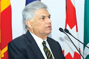 Prime Minister Ranil Wickremesinghe speaking at the occassion. Picture by: Wasitha Patabendige
