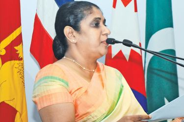 Minister Thalatha Athukorale speaking at the event.  Picture by:   Wasitha Patabendige