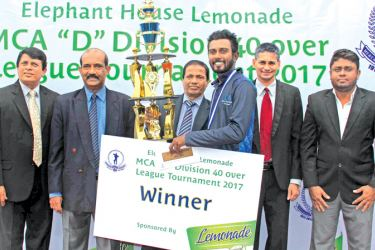The winning captain of Citizens Development Business, Vishwa Rathnayake (3 rd from right) receiving the Elephant House Lemonade Trophy from the Chief Guest, Asst. VP /JKH and Head of Sales /CCS, Wasanthalal Fernando (03 rd from Left). Others in the picture (from left) : Sujeewa de Silva (Chairman Tournament Committee), Nalin Wickramesinghe (General Secretary MCA), Niran Mahawatte (President MCA)and  Nadeena Fernando (Senior Brand Manager/ EH Beverages).