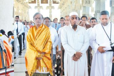 The inaugural ceremony at the independence square held with the participation of religious leaders, government officials, scholars, civil society leaders; trade union leaders, politicians and the public.   Pictures by Kelum Liyanage