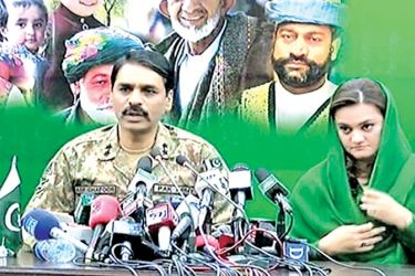 Pakistan's Minister of State for Information Maryam Aurangzeb (R) and Director General of Inter-Services Public Relations, Major General Asif Ghafoor Bajwa at Sunday's press conference.
