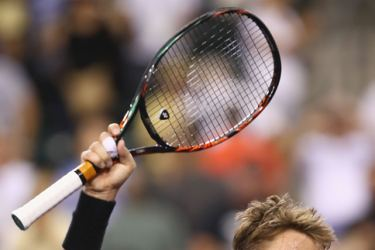 Stanislas Wawrinka of Switzerland celebrates after his three set victory against Dominic Thiem of Austria in their quarter final match during day eleven of the BNP Paribas Open at Indian Wells Tennis Garden on March 16, 2017 in Indian Wells, California.