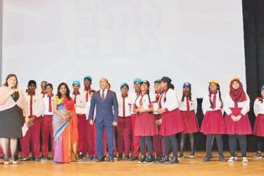 Sri Lankan students and officials of the festival on stage