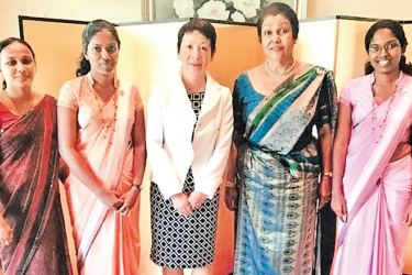 From left to right: Teacher from Sangamitta College Chandima Gamage, Athukorale Aratchige Thamodi Lakshitha, Japanese Ambassador's wife Akiko Saganuma, Chairperson of 'Only One Word' Damini Basnayake, and Athukorale Aratchige Ashani Lakshitha