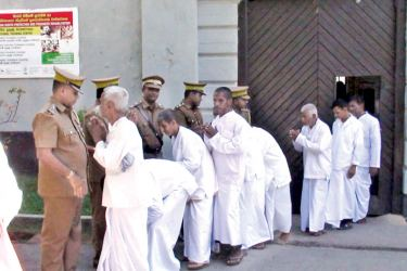 Under the special pardon extended by the President Maithripala Sirisena to mark the Vesak Poya day, 20 prisoners were released from the Galle Prison on the day (May 10). Galle Prison Superintendent  Jagath Chandana Weerasinghe, Chief Jailer V. R. Prabath and prison officials were present. Picture by Ravindra Liyanage, Hiniduma Special Corr.