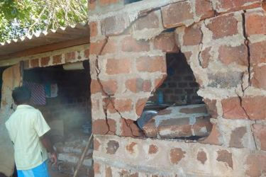 Houses damaged from wild elephant attacks