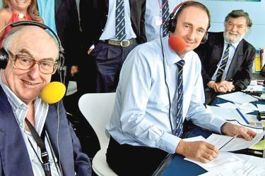 Henry Blofeld (left) with Jonathan Agnew on BBC Test Match Special.