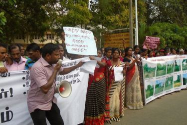 Villagers protesting in Puttur yesterday.