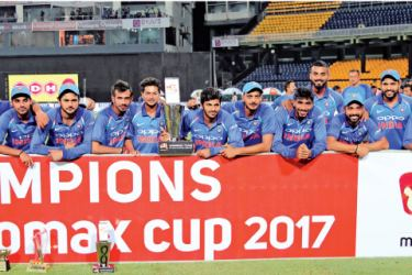 The victorious Indian cricket team that won the Micromax Cup ODI series against Sri Lanka 5-0. Picture by Rukmal Gamage
