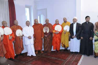 Sri Lanka's new envoy to France, Ambassador B. K. Athauda along with religious representatives at the ceremony in France.