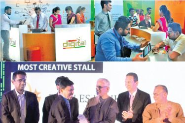People's Bank state-of-the-art digital stall (top)  Wasantha Deshapriya, Secretary of the Ministry of Telecommunication and Digital Infrastructure handing over the Most Creative Stall Award to K.B Rajapakse, Acting CEO/GM People's Bank.