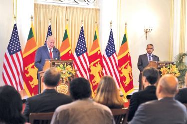 US Under Secretary of State for Political Affairs Thomas Shannon and Foreign Secretary Prasad Kariyawasam during the 'partnership' talks.
