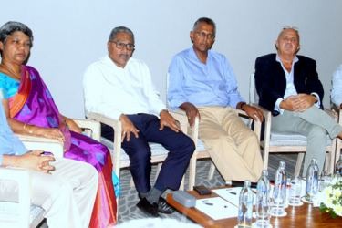 Jetwing Hotels Chairman, Hiran Cooray and other  officials at the event. Picture byChaminda Niroshana