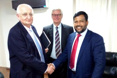 Minister Rishad Bathiudeen , Peter Taksoe-Jensen,  Denmark's Ambassador to Sri Lanka and visiting AP MOLLER-MAERSK's Senior Director South Asia, Julian Michael Bevis