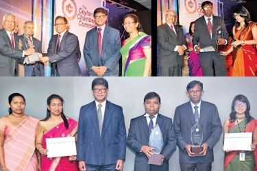 The Bank of Ceylon team receiving the award at the Best Corporate Citizenship Awards 2017.
