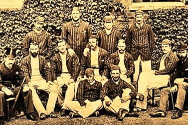 Fred Spofforth (back row far right) and the 1882 Australia cricket team, who inflicted England's first ever defeat on home soil.
