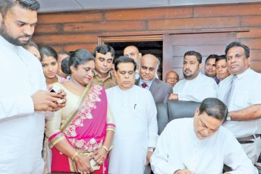 Law and Order and Southern Development State Minister Piyasena Gamage assuming duties. Picture by Saman Sri Wedage.