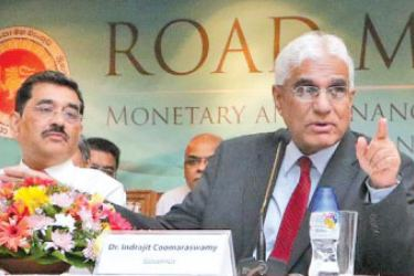 CB Governor Dr Indrajit Coomaraswamy speaks at the media conference to present the Bank's Road Map 2018, in Colombo, yesterday. The other senior CB officials are Deputy Governor C J P Siriwardena, Senior Deputy Governor Dr Nandalal  Weerasinghe and Deputy Governor K D Ranasinghe. Picture by Saman Sri Wedage