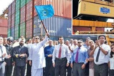 Minister of Ports and Shipping Mahinda Samarasinghe signals handling of the 6 millionth TEU at the Port of Colombo brought in by MV MSC Madhu B at the Jaya Container Terminal of SLPA. Dr. Parakrama Dissanayake – Chairman of SLPA and Jayantha Perera – Director (Operations) are also present.