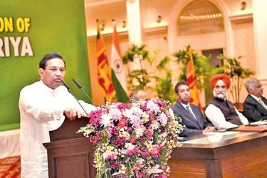 Health Minister Dr. Rajitha Senaratne addressing the gathering with Prime Minister Ranil Wickremesinghe, Law and Order and Southern Development Minister Sagala Ratnayake, Policy Planning and Economic Development Deputy Minister Dr. Harsha De Silva and Heath Services Director General Dr. Anil Jasinghe also in attendance.