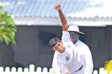 Thomian match winner Dellon Peiris who took five wickets to rout Nalanda in their school match played at Mt Lavinia yesterday.  Pic by Shan Rambukwella