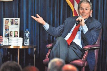 "Former U.S. President George W. Bush speaks during a discussion about his new book ""Portraits of Courage: A Commander in Chief's Tribute to America's Warriors"" at the Ronald Reagan Presidential Library on March 1, 2017 in Simi Valley, California."