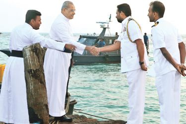 Catholic clergy greet Naval personnel in Palaitivu