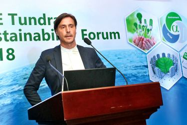 Mattias Martinsson Founder and CIO of Tundra Fonder AB  speaking at the forum. Picture by Roshan Pitipana