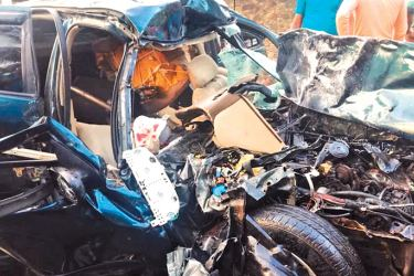 The motor car in shatters after the accident. Picture by Imaduwa Group Corr.