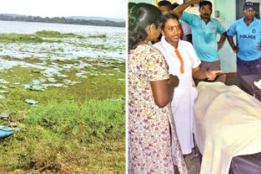 Five persons died when the canoe in which they set out in the Periyakulam tank to pluck lotus flowers for an offering capsized, drowning family members in Nilaveli yesterday. The bodies lying at the Trincomalee hospital morgue. A child was rescued in the mishap. (Left) The canoe in which they set out to the tank. (Pictures by A.T.M. Gunananda,Trincomalee special corr)