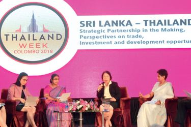 Jittima Nakamano, Commercial Counselor and Director of Thai Trade Centre, Chennai, India, Chutima Eamchotchawalit, Deputy Governor of Thailand Institute of Scientific and Technological Research, representative from the Ministry of Development Strategies and International Trade-Sri Lanka, Chulamanee Chartsuwan, Thai Ambassador to Sri Lanka and Nanadana Ekanayake , CEO of Siam City Cement (Lanka) Ltd at the seminar. Picture by Thushara Fernando