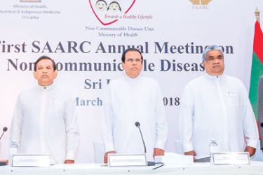 President Maithripala Sirisena, Health Minister Dr. Rajitha Senaratne, Deputy Minister Faizal Cassim and other officials at the opening of the conference. Pictures by Sudath Silva.