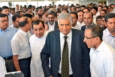 Prime Minister Ranil Wickremesinghe met fellow Parliamentarians and party supporters at Sirikotha yesterday. Picture by Hirantha Gunathilake