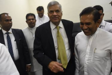 Prime Minister Ranil Wickremesinghe leaving the House after the NCM vote.