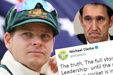 Australian cricket captain Steve Smith and CEO James Sutherland.