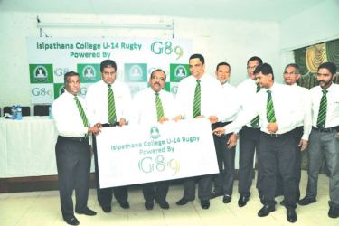 Isipathana OBA Group of '89 officials handing over the sponsorship to school Vice Principle Kalubowila and Isipathana Rugby Committee Chairman Shabeen Siddique in the presence of OBA Senior Vice President Rajeeve Rodrigo and Group of '89 members