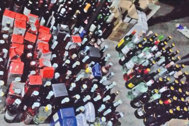 A part of the seized foreign liquor.