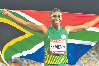 Caster Semenya celebrates winning gold in the women's 800m at last month's Commonwealth Games