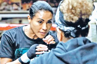 Cecelia Braekhus trains during a media workout at the Wild Card West Boxing Club, California