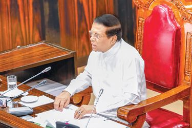 President Maithripala Sirisena delivering his policy statement. Picture by Sudath Silva