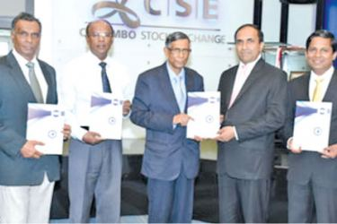 Prof.Lakshman R. Watawala, President CMA Sri Lanka presenting the first copy of 'CMA Excellence in Integrated Reporting Awards 2018' brochure to Rajeeva Bandaranaike, CEO of the Colombo Stock Exchange, the supporting partner for the event.Jinandi Chandraratne, Assistant Director – Education& Research - CMA, Kanishka Jayasinghe, CEO – CMA, Hennayake Bandara, Vice President – CMA, Prof.Lakshman R. Watawala, President – CMA, Rajeewa Bandaranaike, CEO – CSE, Kusal Nissanka, Head of Finance and Administration –